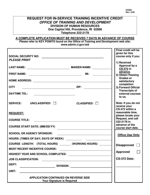 Form CS365  Printable Pdf