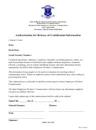 """Authorization for Release of Confidential Information"" - Rhode Island"