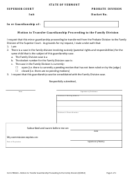 "Form PMG63 ""Motion to Transfer Guardianship Proceeding to the Family Division"" - Vermont"