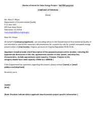 """""""Notice of Intent for Solar Energy Project - Full Pbr Projects"""" - Virginia"""