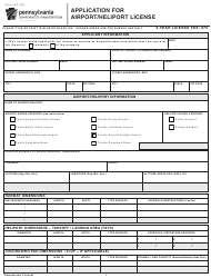 "Form AV-6 ""Application for Airport/Heliport License"" - Pennsylvania"