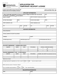 """Form AV-2 """"Application for Temporary Heliport License"""" - Pennsylvania"""