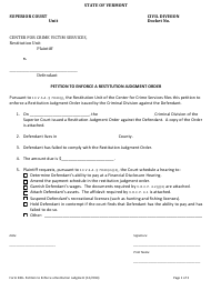 "Form 280 ""Petition to Enforce a Restitution Judgment Order"" - Vermont"