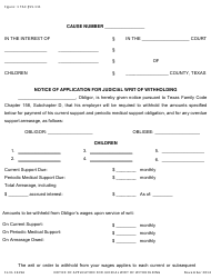 """Form 1619A """"Notice of Application for Judicial Writ of Withholding"""" - Texas"""