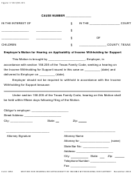 """Form 1851 """"Employer's Motion for Hearing on Applicability of Income Withholding for Support"""" - Texas"""