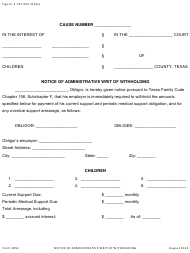 """Form 1852 """"Notice of Administrative Writ of Withholding"""" - Texas"""