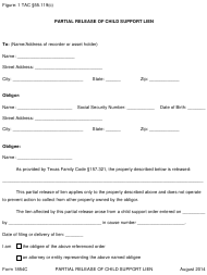 """Form 1854C """"Partial Release of Child Support Lien"""" - Texas"""
