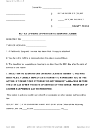 """Form 1834 """"Notice of Filing of Petition to Suspend License"""" - Texas"""