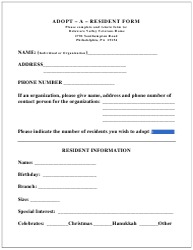 """Adopt-A-resident Form"" - Pennsylvania"