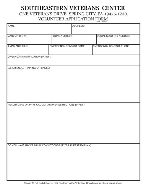 """Southeastern Veterans' Center Volunteer Application Form"" - Pennsylvania Download Pdf"