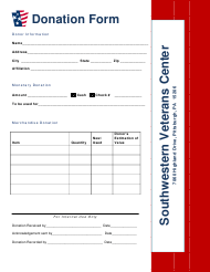 """Southwestern Veterans Center Donation Form"" - Pennsylvania"