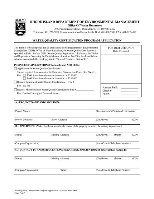 """Water Quality Certification Program Application Form"" - Rhode Island Download Pdf"