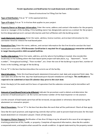 """Instructions for """"Lead Based Paint Abatement Activities Notification Form"""" - Virginia"""