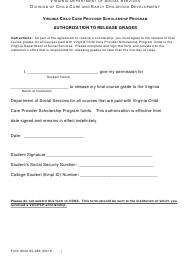 """Form 032-05-083 """"Authorization to Release Grades"""" - Virginia"""