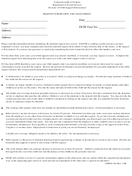 """Form APECS222 """"Request for Review and Adjustment"""" - Virginia"""