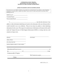 """Form APECS103 """"Affidavit/Certification of Nondisclosure"""" - Virginia"""