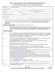 """Form CSC-100 """"Survey Visit Checklist"""" - Texas"""
