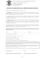 """Affidavit for Motorcycle / Moped / Motor Scooter"" - Rhode Island"
