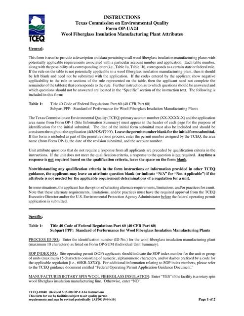 Form OP-UA24 (TCEQ-10040)  Printable Pdf