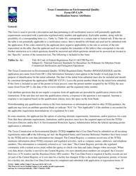 "Form OP-UA39 (TCEQ-10090) ""Sterilization Source Attributes"" - Texas"