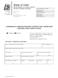 """Commercial Driver Training Instructor / Operator Certification Application Form"" - Utah"
