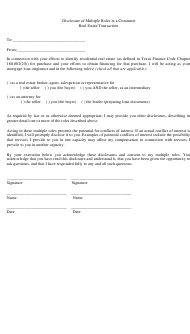 """""""Disclosure of Multiple Roles in a Consumer Real Estate Transaction"""" - Texas"""
