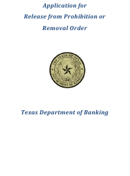 "Form CORP-105 ""Application for Release From Prohibition or Removal Order"" - Texas"