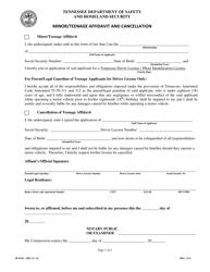 "Form SF-0259 ""Minor/Teenage Affidavit and Cancellation"" - Tennessee"