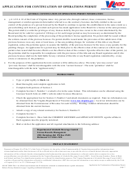 """Form 805-99 """"Application for Continuation of Operations Permit"""" - Virginia"""