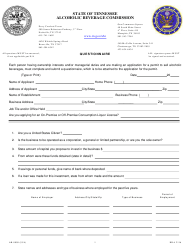 """Form AB-0009 """"Questionnaire"""" - Tennessee"""