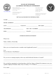 """Form AB-0118 """"Retail Background Information"""" - Tennessee"""