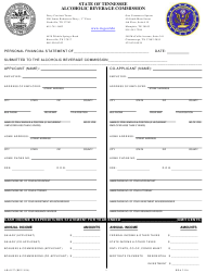 """Form AB-0127 """"Personal Financial Statement"""" - Tennessee"""