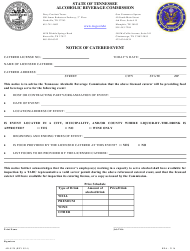 """Form AB-0128 """"Notice of Catered Event"""" - Tennessee"""