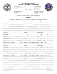 """Form AB-0089 """"Clerk List"""" - Tennessee"""