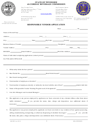 """Form AB-0091 """"Responsible Vendor Application"""" - Tennessee"""