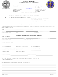 """Form AB-0095 """"Complaint Against Licensee"""" - Tennessee"""