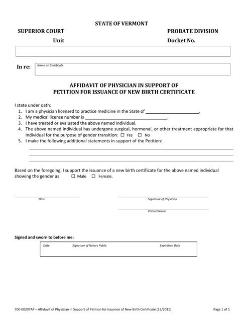 Form 700-00207AP  Printable Pdf