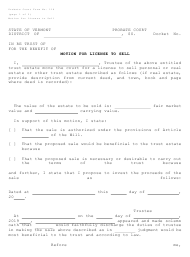 """Form PC118 """"Motion for License to Sell"""" - Vermont"""