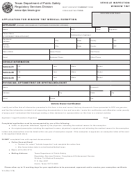 "Form VI-4 ""Application for Window Tint Medical Exemption"" - Texas"