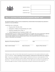 """Health Certificate for Private Academic Credentials"" - Pennsylvania"