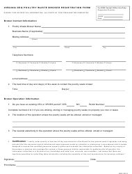 """Virginia DEQ Poultry Waste Broker Registration Form"" - Virginia"