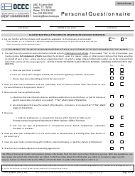 "Form ADM16 ""Personal Questionnaire"" - Texas"