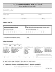"Form VIE-7 ""Vehicle Repair Form"" - Texas"