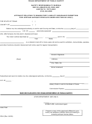 "Form SR-2 ""Affidavit Relating to Mandatory Liability Insurance Exemption for Certain Antique Vehicles Under Section 601.052(1)"" - Texas"