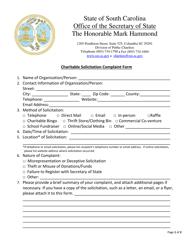 """Charitable Solicitation Complaint Form"" - South Carolina"