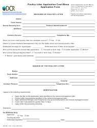 """Form DCR199-134 """"Poultry Litter Application Cost-Share Application Form"""" - Virginia"""