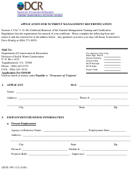 "Form DCR199-112 ""Application for Nutrient Management Recertification"" - Virginia"