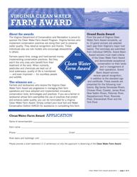 """Form DCR199-007 """"Clean Water Farm Award Application"""" - Virginia"""