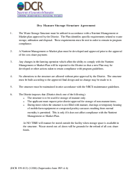 """Form DCR199-013 """"Dry Manure Storage Structure Agreement"""" - Virginia"""
