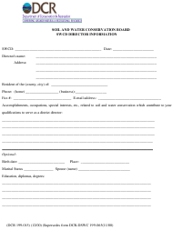 """Form DCR199-015 """"Soil and Water Conservation Board Swcd Director Information"""" - Virginia"""